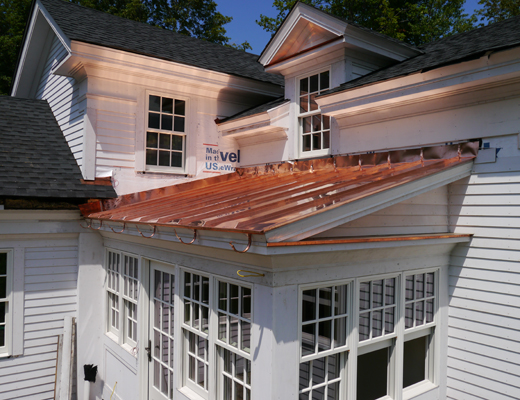New copper roof on renovated porch