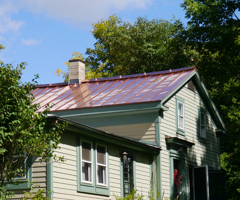 Copper metal roof on century home