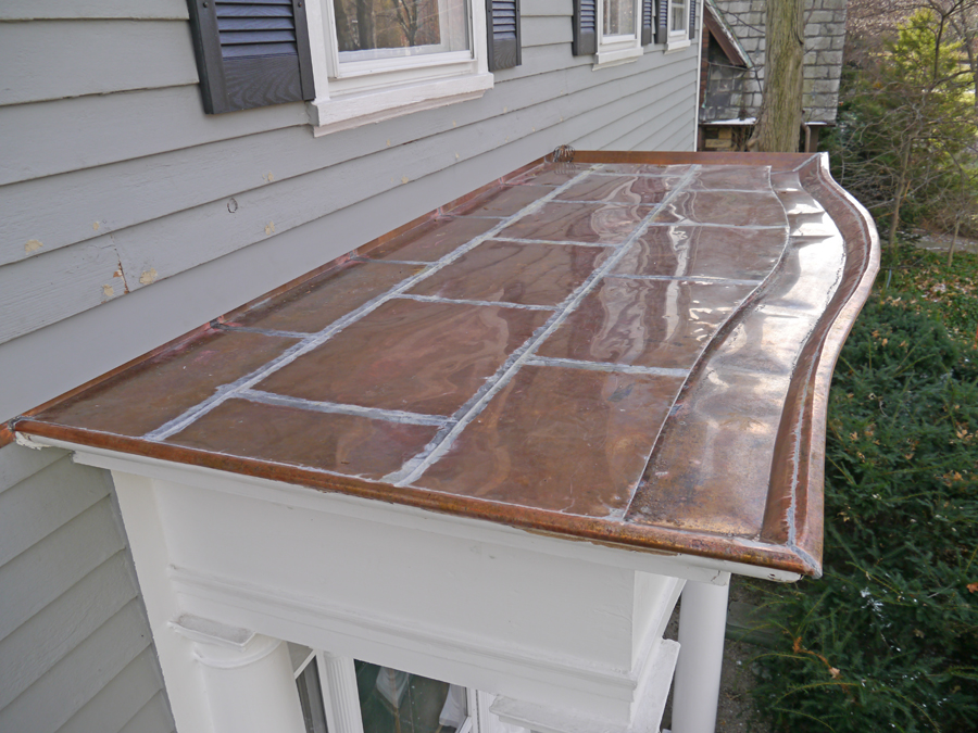 Curved copper built in gutter in Cleveland Heights, Ohio